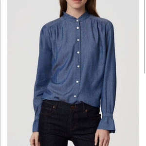 LOFT the softened shirt in chambray with ruffles